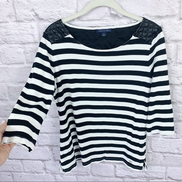 Tommy Hilfiger Tops - Tommy Hilfiger Striped Top w Faux Leather Detail